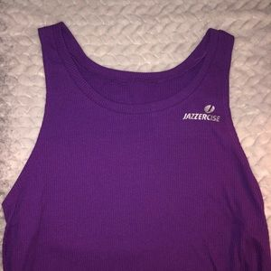 Purple jazzercise workout top
